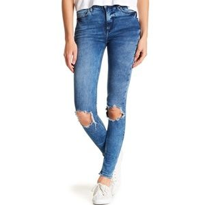 Free People Turquoise Busted Knee Skinny Jeans 26